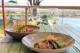 Lunch on the outdoor dining deck at Cape Point Vineyards in Cape Town South Africa - hosted by Luxury Wine Trails - the finest wine, food & cultural tours