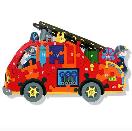 Alphabet Jigsaws- Alphabet Fire Engine Puzzle (Cymraeg)