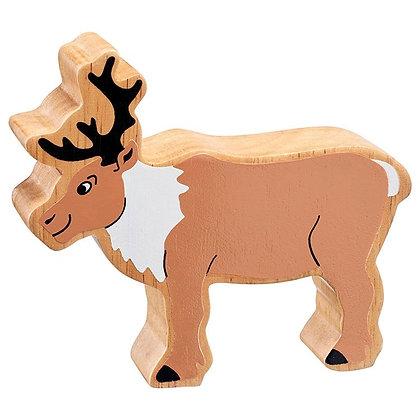 Lanka Kade Christmas- Natural Wooden Brown and White Reindeer RNC238