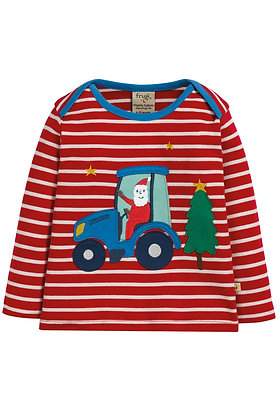 Frugi Bobby Applique Top- Tractor
