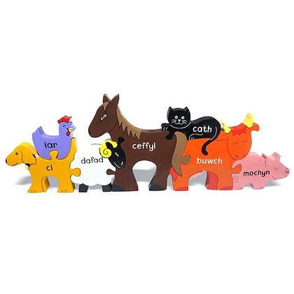 Alphabet Jigsaws- Farm Animals Puzzle (Cymraeg)