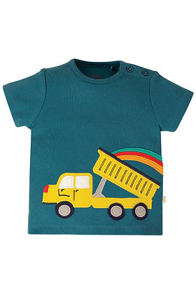 Frugi Scout Applique Top- Steely Blue Blue Truck