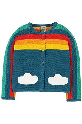 Frugi Skylar Cardigan - Steely Blue/Rainbow