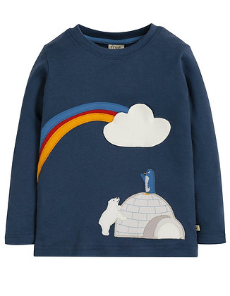 Frugi Adventure Applique Top- Blue Igloo