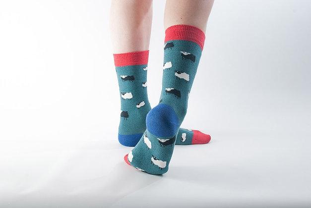Doris & Dude Bamboo Socks - Teal Sheep