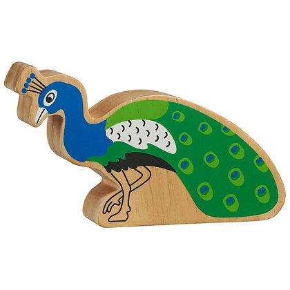 Lanka Kade Natural Wooden Blue and Green Peacock NC293