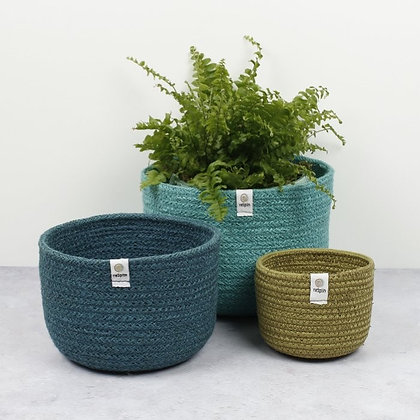 Respiin Jute Tall Basket Set - Ocean