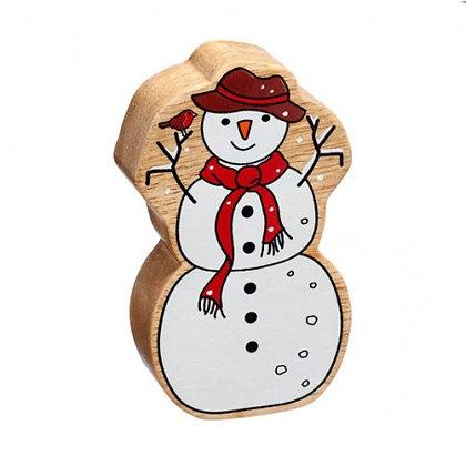 Lanka Kade Christmas- Natural Wooden White Snowman RNC593