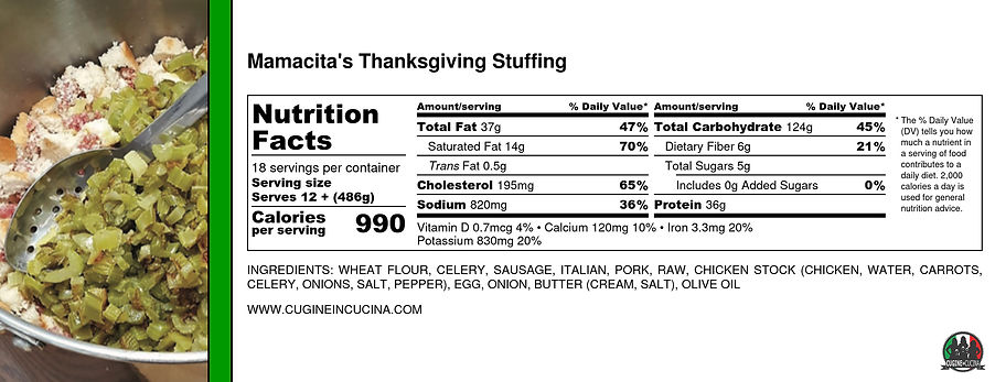 Mamacita's Thanksgiving Stuffing - Nutri