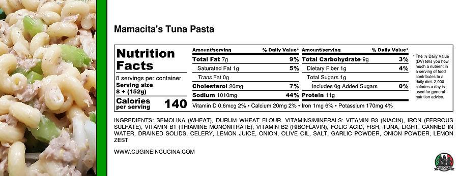 Mamacita's Tuna Pasta - Nutrition Label.