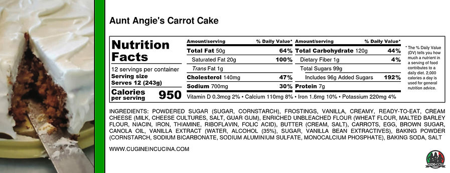Aunt Angie's Carrot Cake - Nutrition Lab