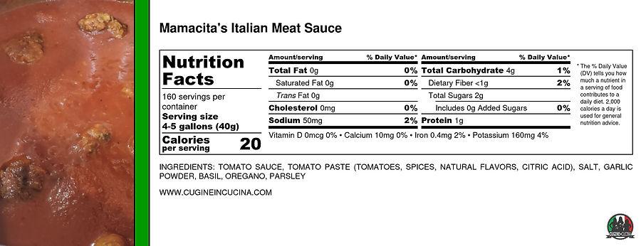 Mamacita's Italian Meat Sauce - Nutritio