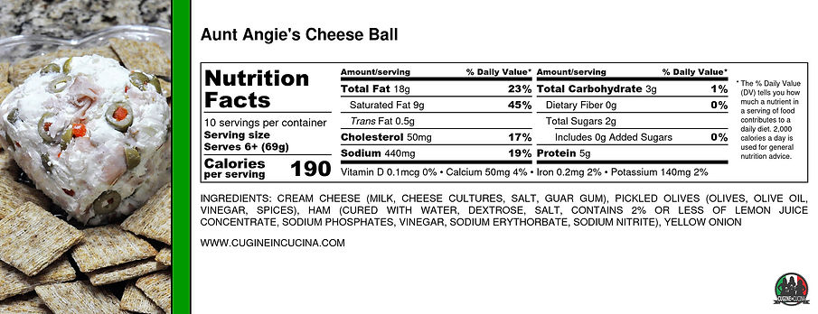 Aunt Angie's Cheese Ball - Nutrition Lab