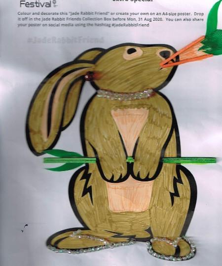 stylish jade rabbit friend with glass sandles