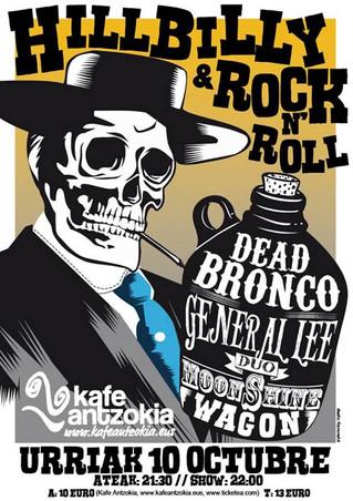Dead Bronco, General Lee (Duo) y Moonshine Wagon el sábado en el Kafe Antzokia