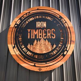 Iron Timbers Cedar/Steel Sign