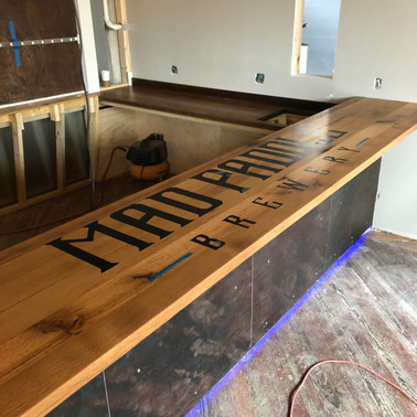Reclaimed Oak Bar Top With Resin Logo
