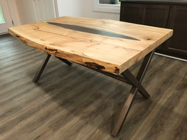 Live Edge Maple Dining Table w/ Metal Inlay