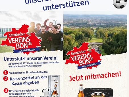 Unterstützt uns bei der Krombacher Vereinsbonus-Aktion für Nordhessen