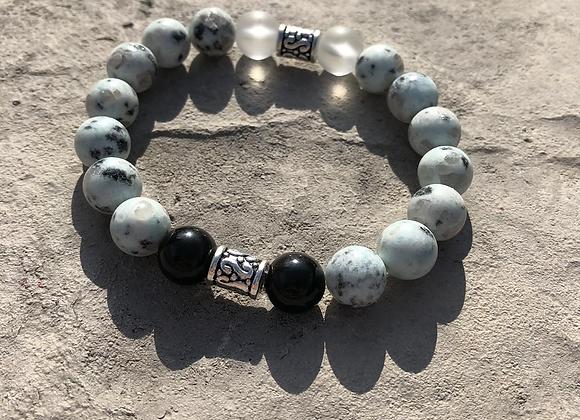 Kiwi Jasper, Obsidian, and Clear Quartz Bracelet