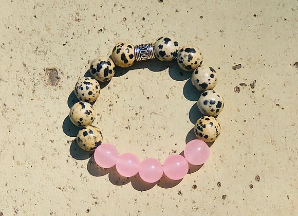 Dalmatian Jasper and Rose Quartz Bracelet