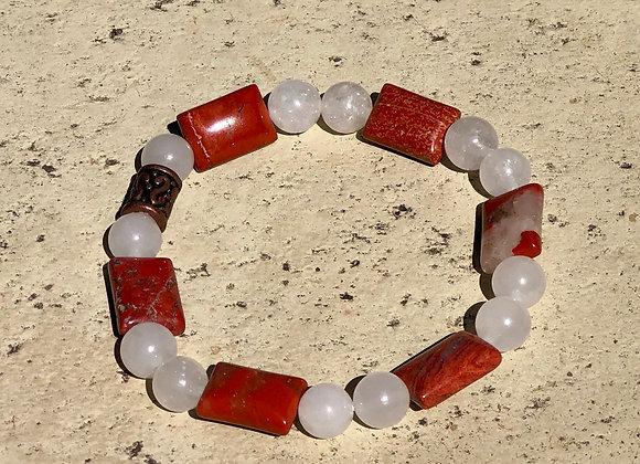White Jade and Red Jasper Bracelet