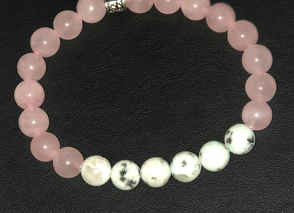 Rose Quartz and Kiwi Jasper Bracelet