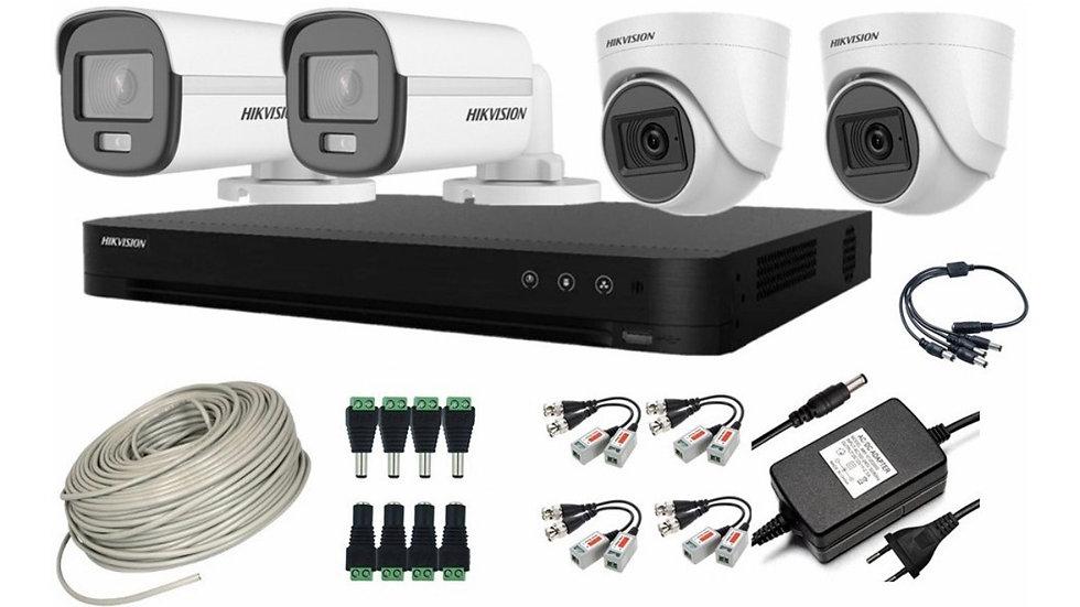 Cctv Kit Hikvision Pro 2 Cam Color  vu / 2 Cam Con Audio 1080p