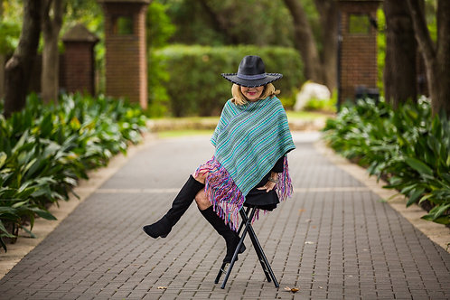 Turquoise Striped Pancho