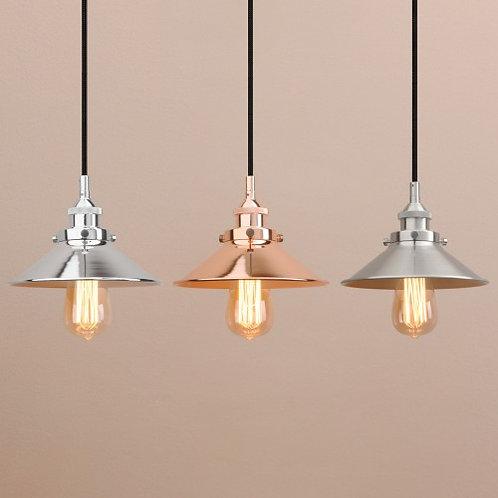 Industrial steel ceiling pendant light