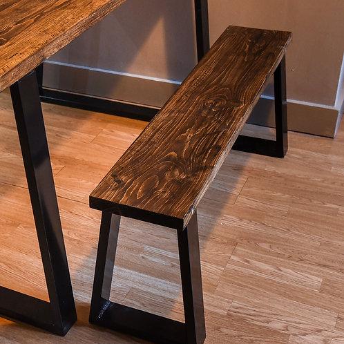 Timber board Trapezium leg bench