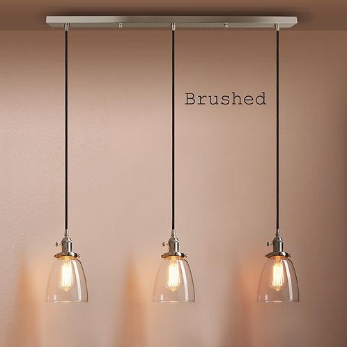 Triple glass pendant ceiling light cluster