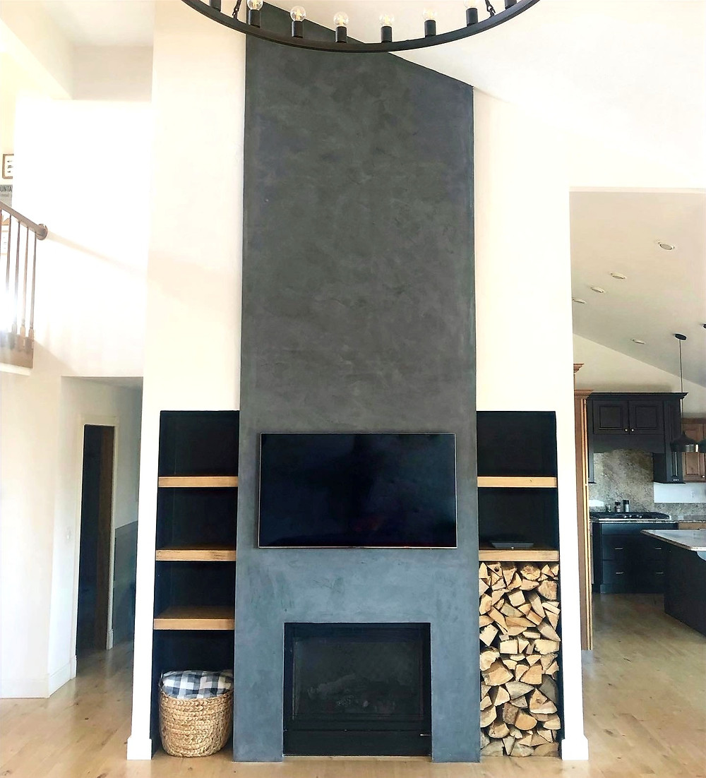 Faux Cement Fireplace