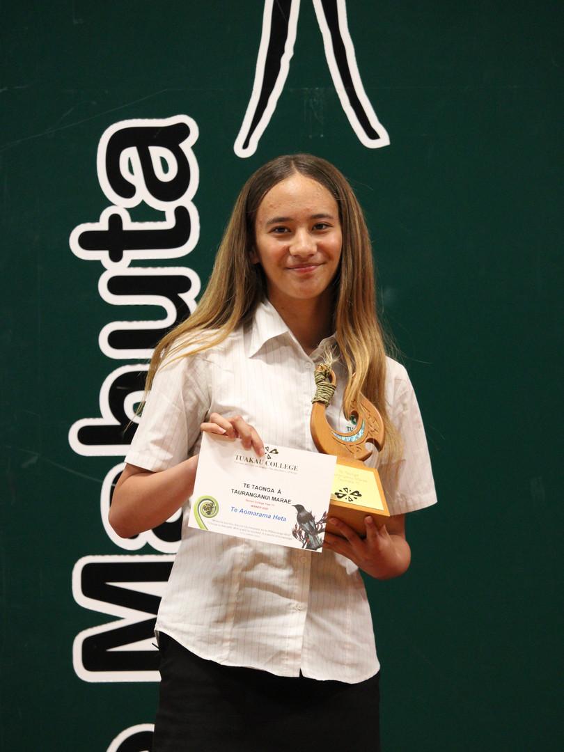 Year 11 (Tauranganui Marae) Award: Te Aomarama Heta