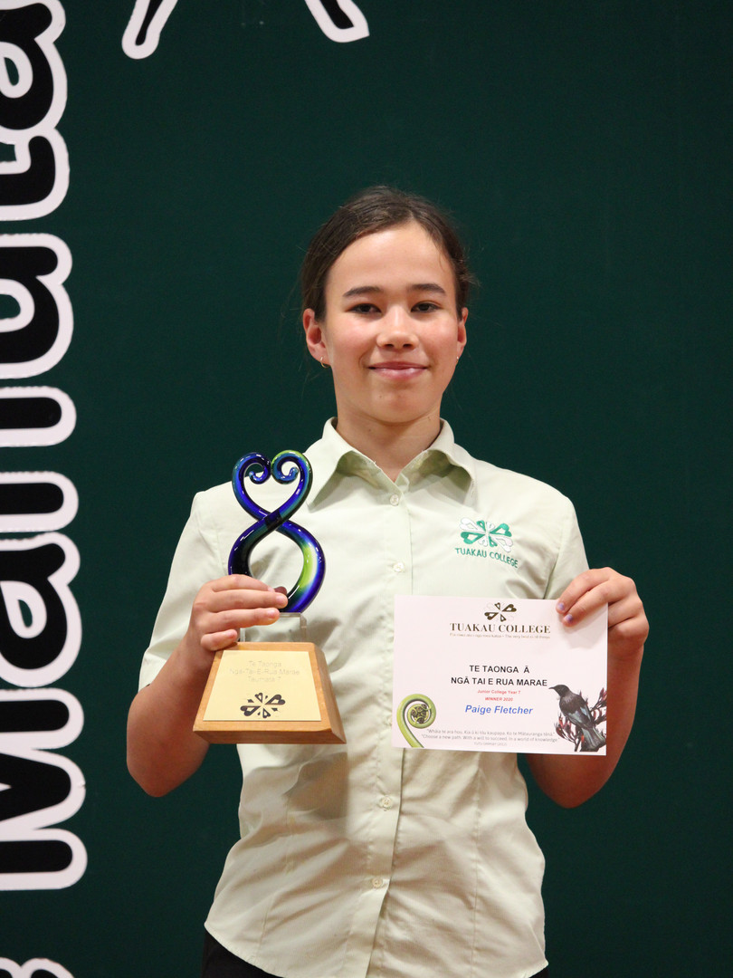 Year 7 (Nga Tai E Rua Marae) Award: Paige Fletcher