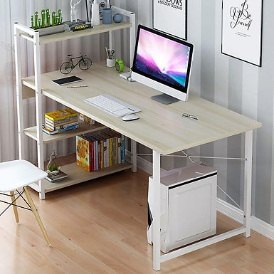 Frank Tech Simple Design Style Wooden Soho Office Computer Table with Bookshelf