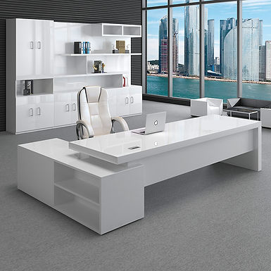 White Modern Manager Executive High Gloss Paint l Shaped Office Desk