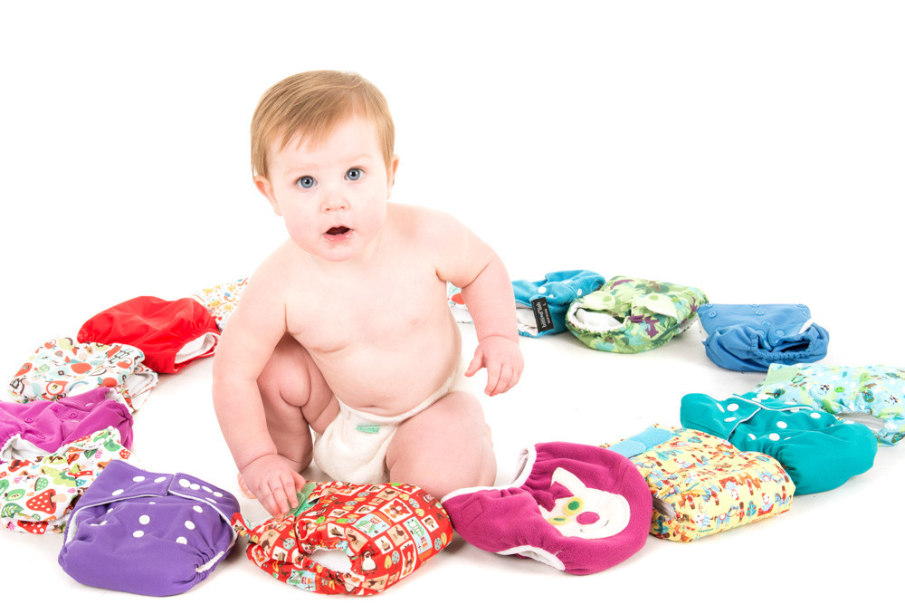 Baby with cloth nappies