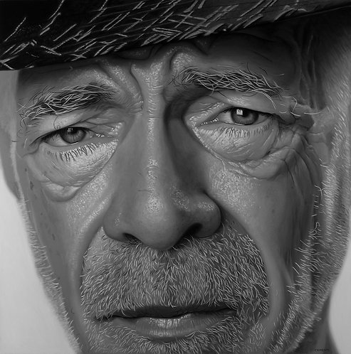 Black and white oil portrait of older man in hat