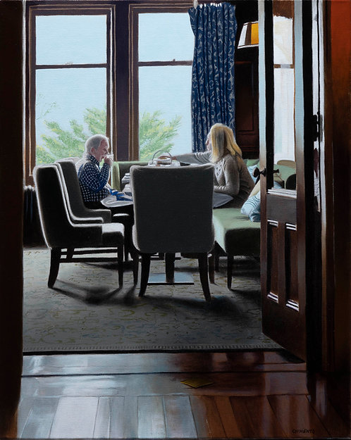 oil painting of couple having lunch in front of window