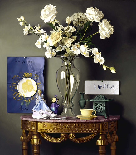 Giclée print of still life with glass vase, white flowers, marble & gold table, doll