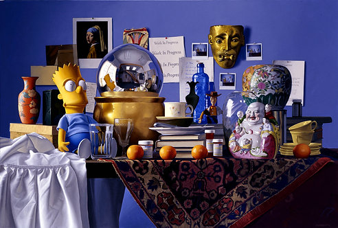 Giclée print of Still life with Bart Simpson, mirror ball, mask, carpet, oranges, buddha