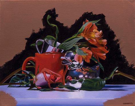 still life oil painting of orange flowers & orange cup