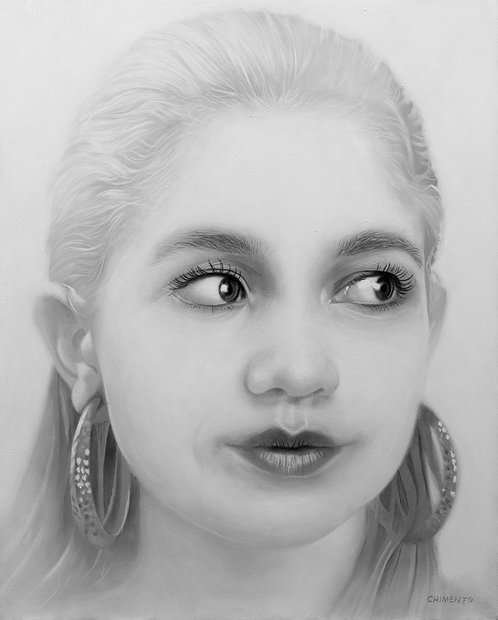 Black and white oil portrait of beautiful woman