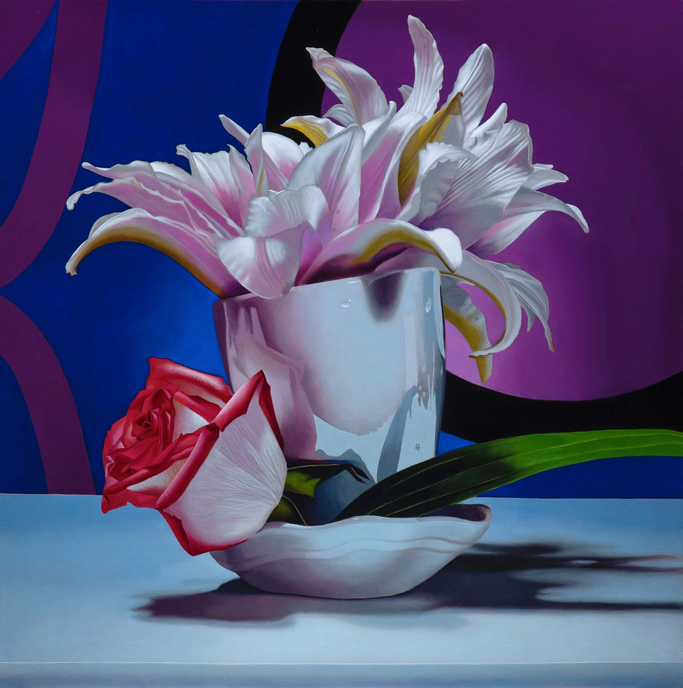 still life painting. Rose. Lillies. cup