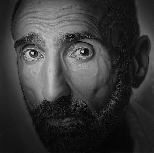 Black and White oil painting self portrait