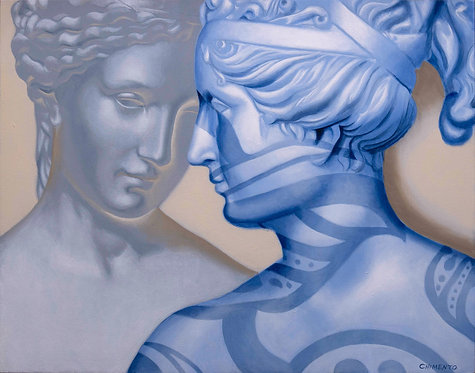 oil painting of greek statues