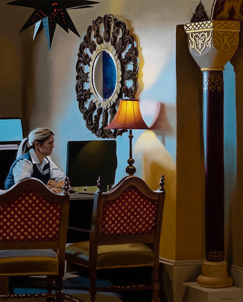 oil painting of reception desk at fancy hotel