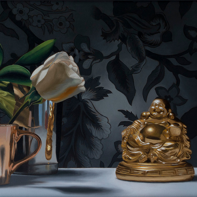 Flowers with Gold Buddha