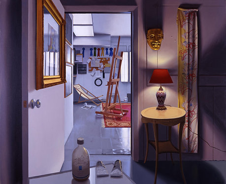 oil painting of interior studio doorway with lamp and easel